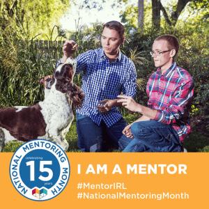 I AM A MENTOR badge | #MentorIRL | #NationalMentoringMonth | JUMP for Kids